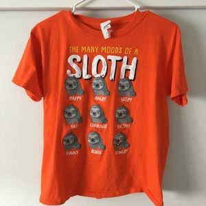 Many Moods Of The Sloth kids large shirt